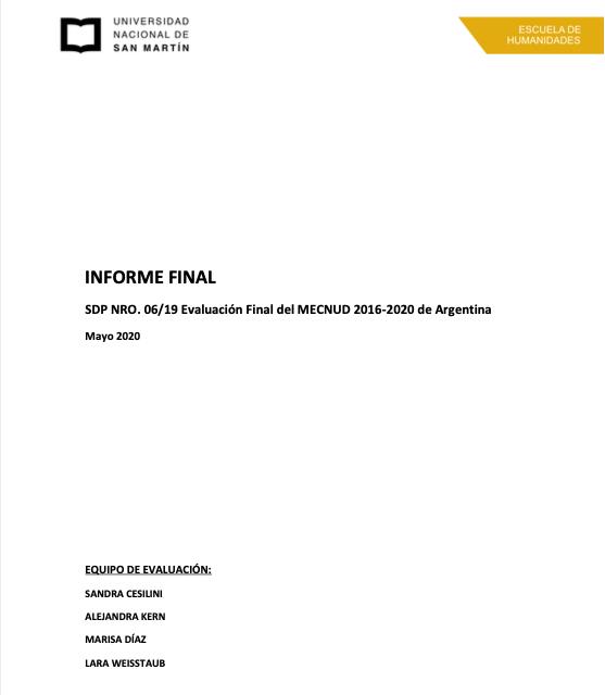 Evaluación Final del MECNUD 2016-2020 de Argentina