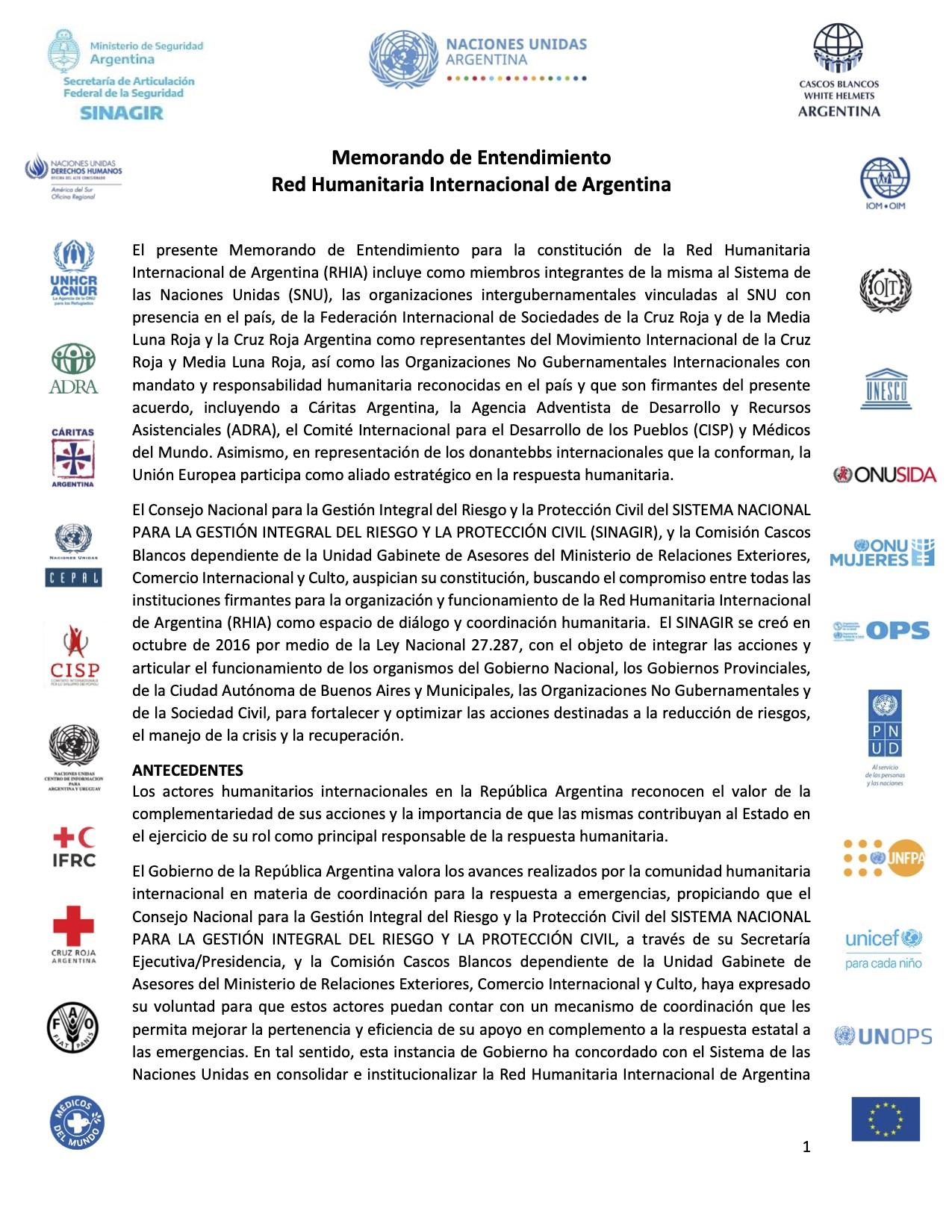 Memorando de Entendimiento: Red Humanitaria Internacional de Argentina (RHIA)
